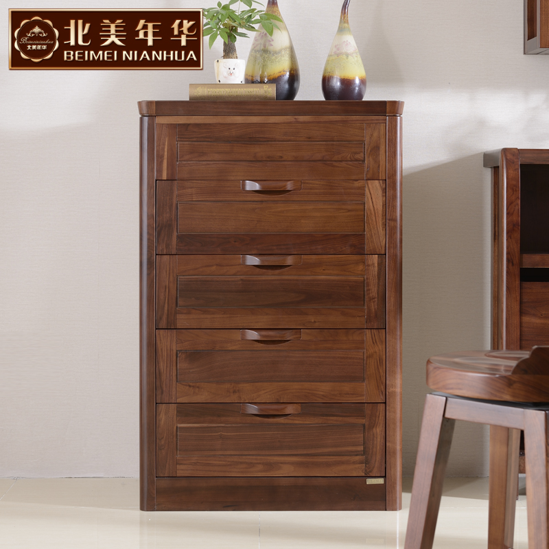 North american love 037 new rome black walnut chest of drawers chest of drawers chest of drawers drawers four three doo doo cabinet end wood furniture