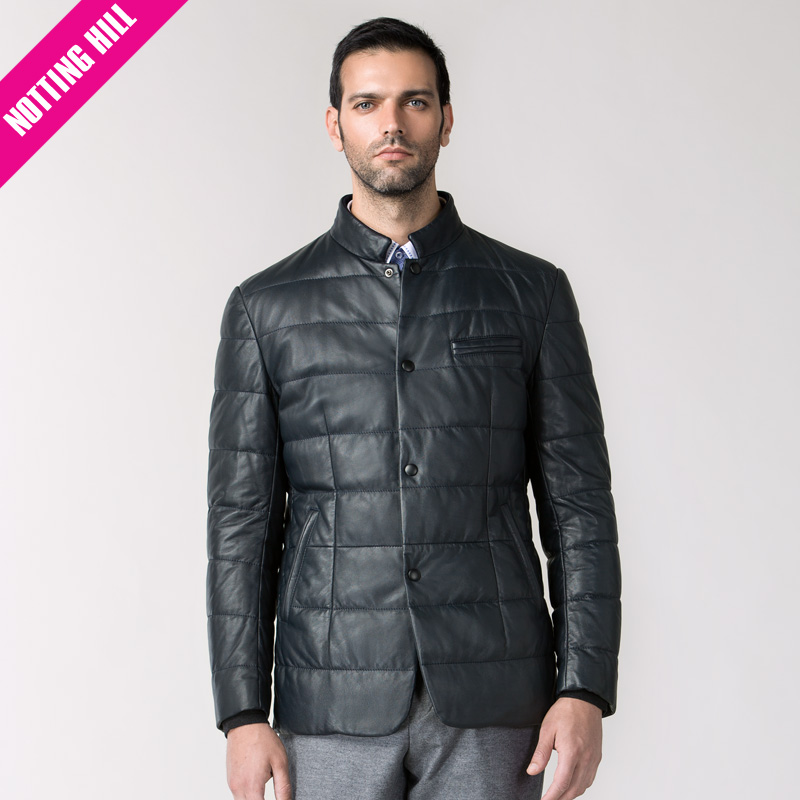 Notting hill autumn and winter men's business casual leather men's solid color dark grid texture counter genuine NH83270