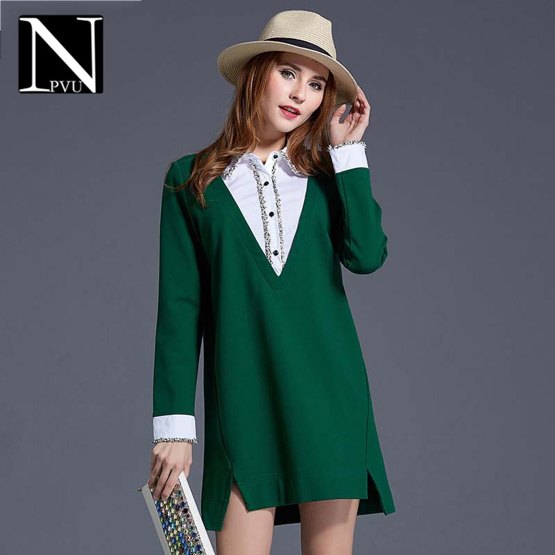 Npvu long sleeve lapel hit color stitching irregular dress 2016 autumn new large size women in europe and america 1966