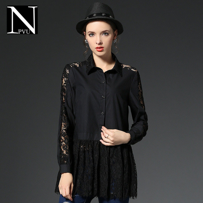 NPVU2016 fashion lace stitching large size women in europe and america hollow personality polo collar long sleeve shirt tide 4342