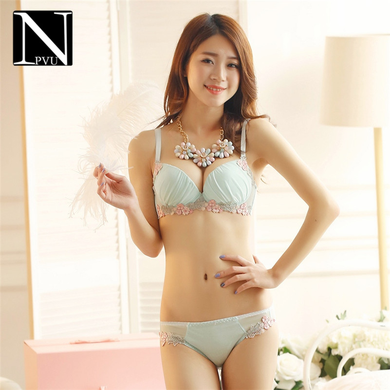 NPVU2016 new comfortable and sexy lace mesh fabric bra set gather adjustable underwear 9506