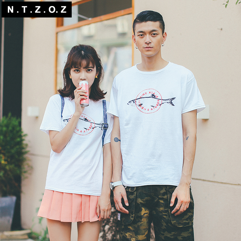 Ntzoz original men's summer new fish tee tide class service uniforms cartoon round neck short sleeve t-shirts for men and women