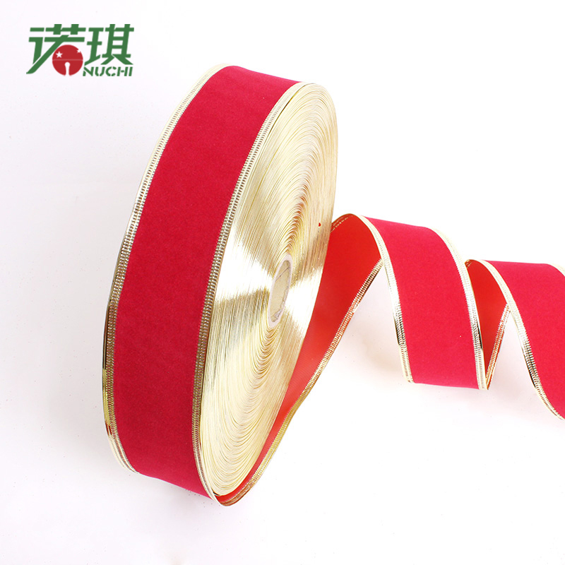 Nuoqi christmas decorations 5 cm * 2 m red flannel phnom penh color ribbon ribbon ribbon ribbon 10g