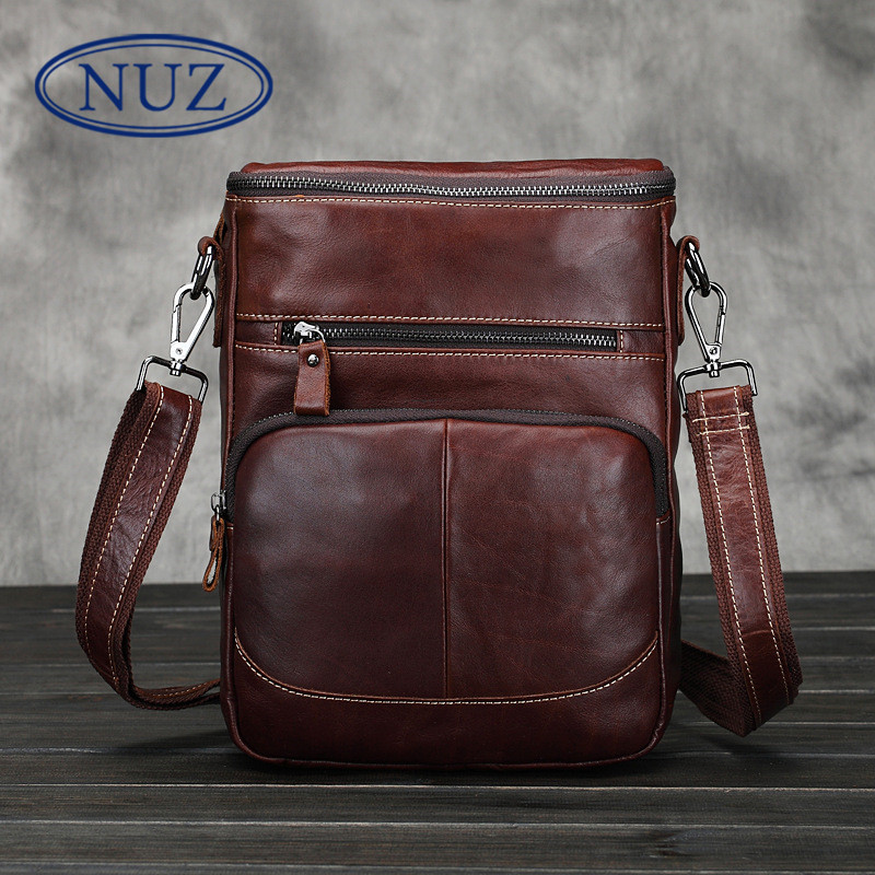 Nuz dermatolyphic dig bag leisure bag man bag shoulder messenger square single package vertical section first layer of oil wax leather bag 4586