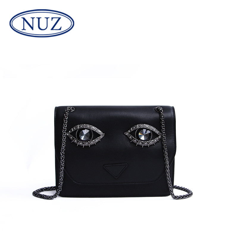 Nuz personality ms. chain shoulder bag leather handbags 2016 korean version of the new naughtiness eye bag tide 3155