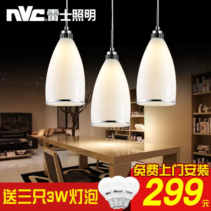 Nvc lighting bar pendant lamp chandelier three glass chandelier lamp modern minimalist creative led restaurant lights