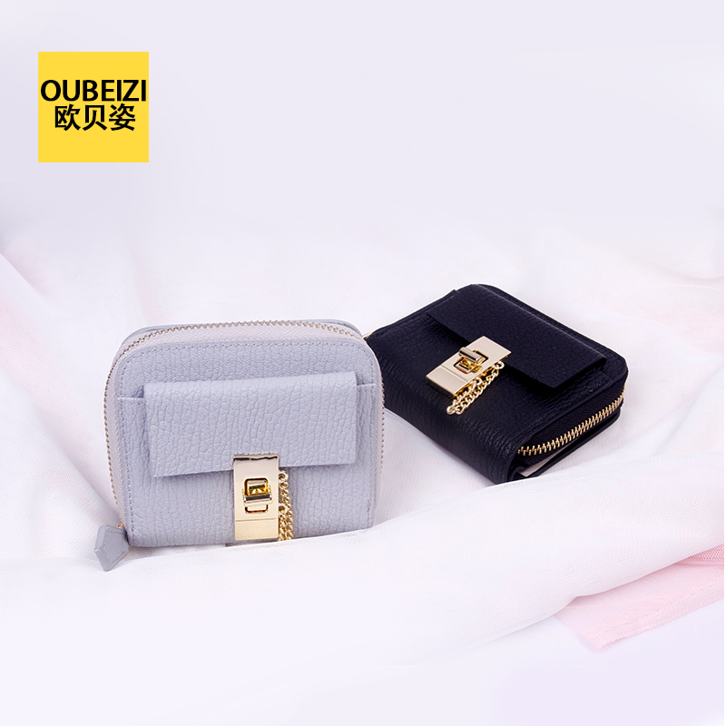 Oberoi pose 16 spring and summer new cowhide leather short paragraph zipper lock pig with money purse two fold wallet wallet