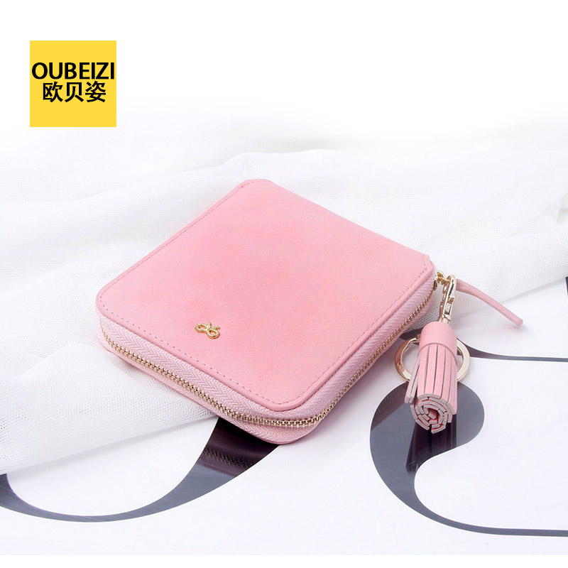 Oberoi pose 16 summer new fringed sweet bow ladies purse zipper short paragraph small wallet