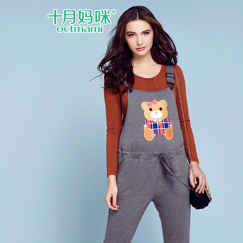 October mummy maternity autumn bear pregnant women overalls pants trousers casual pants big yards maternity pants spring and autumn