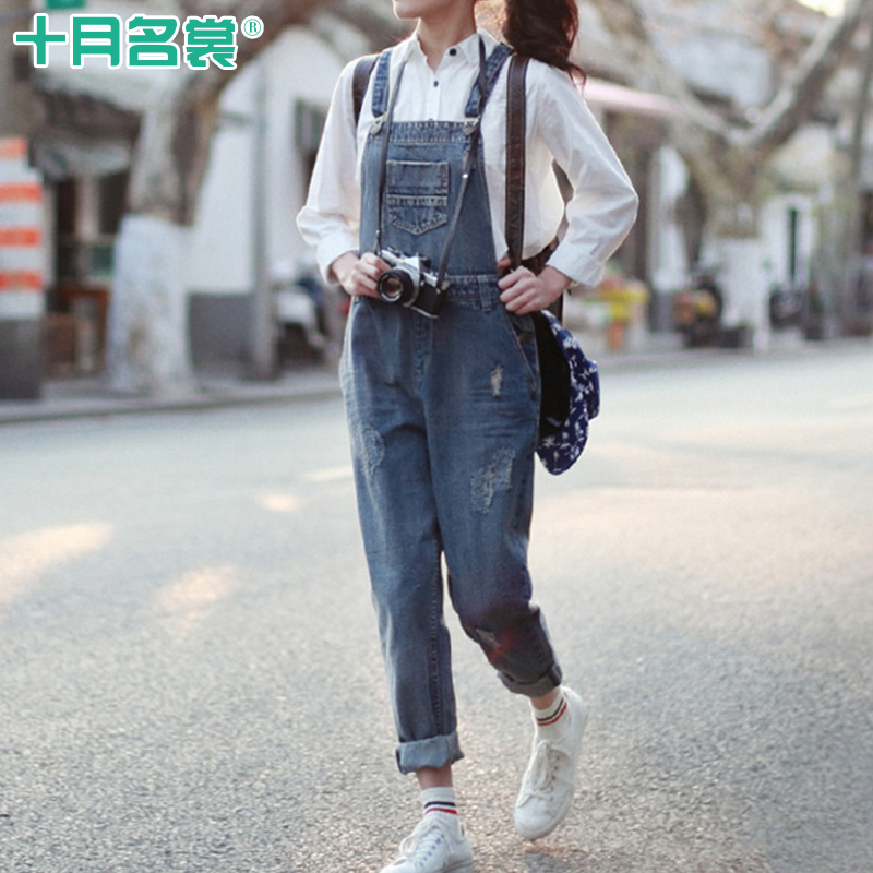 October name couture pregnant women denim overalls maternity pants fall and winter clothes korean fashion big yards pregnant women pants trousers tide