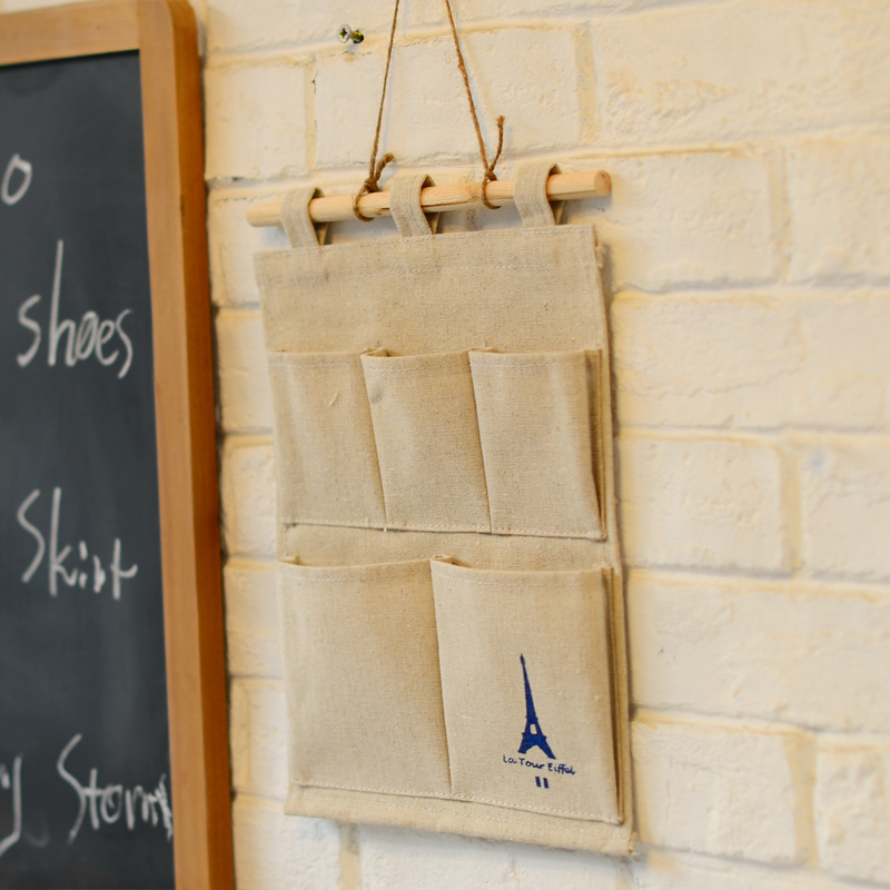 Odd ranks yield zakka style linen cloth creative storage bag wall hanging storage bags of debris stationery letter h