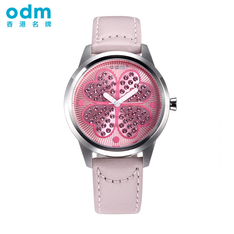 Odm watches ladies diamond watch fashion cute student luminous waterproof leather belt female form dmb009