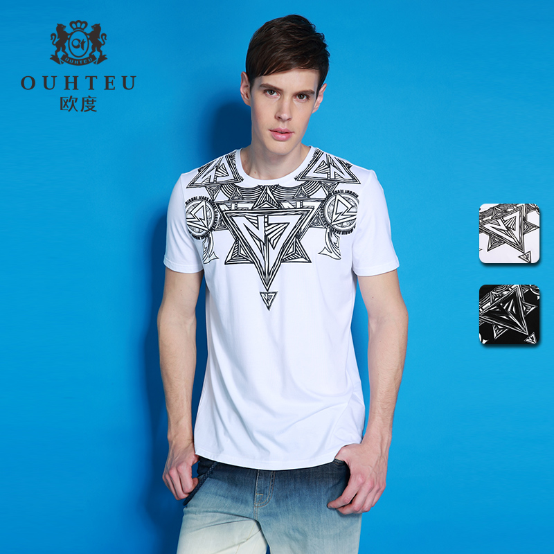 Odu ouhteu electricity supplier earmarked multicolor round neck short sleeve t-shirt fashion personality dress nigerian boä¿ä»authentic