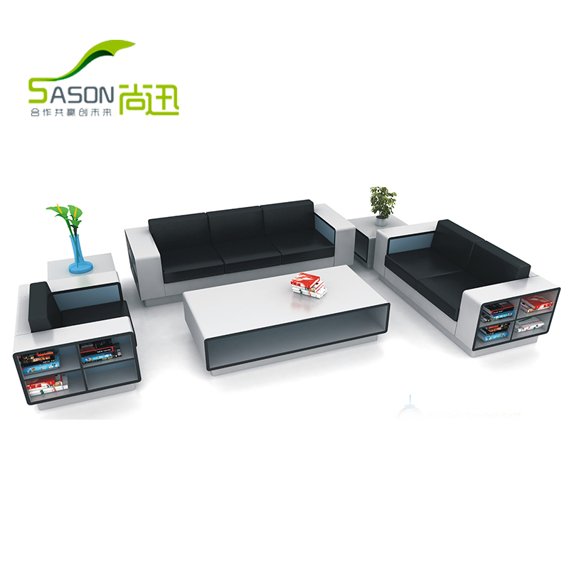 Office sofa table combination of modern minimalist trio bit upscale fashion office sofa business reception area