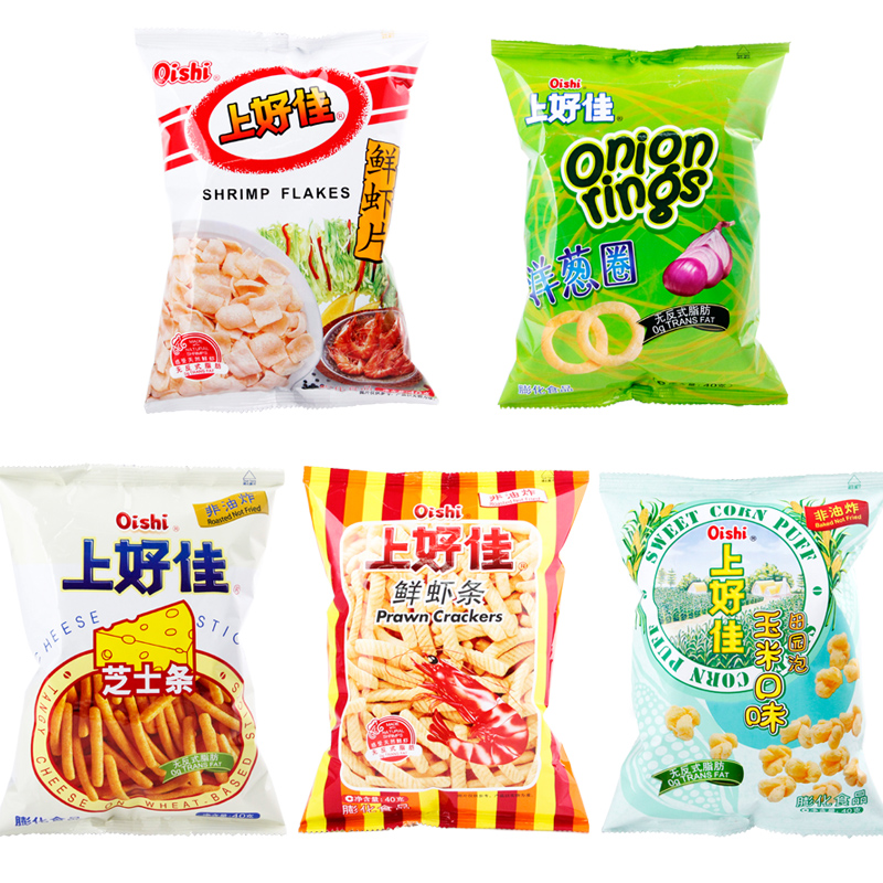 Oishi prawn piece 40g after 8090 memories puffed cheese crisps/article shrimp casual office snacks