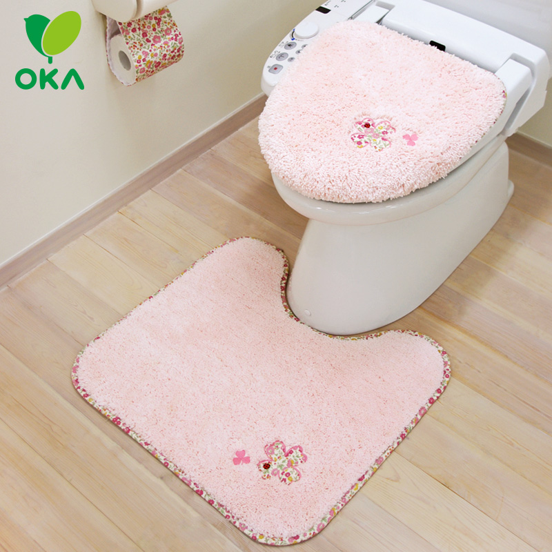 Oka japanese polyester embroidery u type toilet kit smart toilet lid cover toilet mat absorbent mats slip concave shape