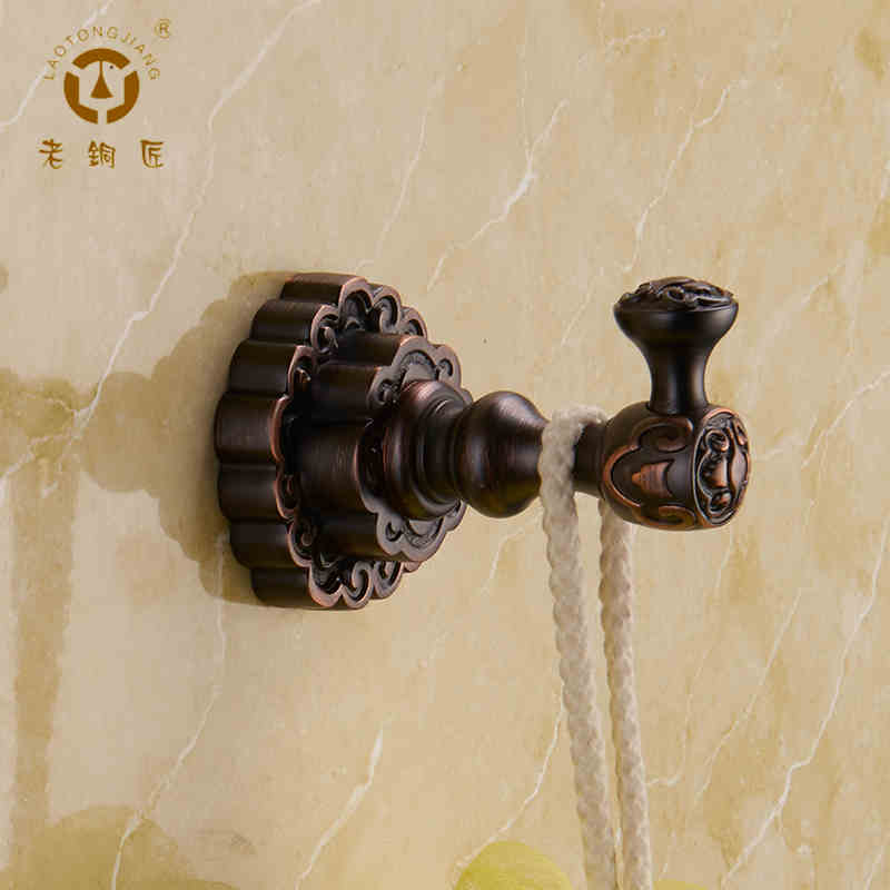 Old coppersmith whole european copper antique coat hook single robe hook antique black coat hooks GY10701