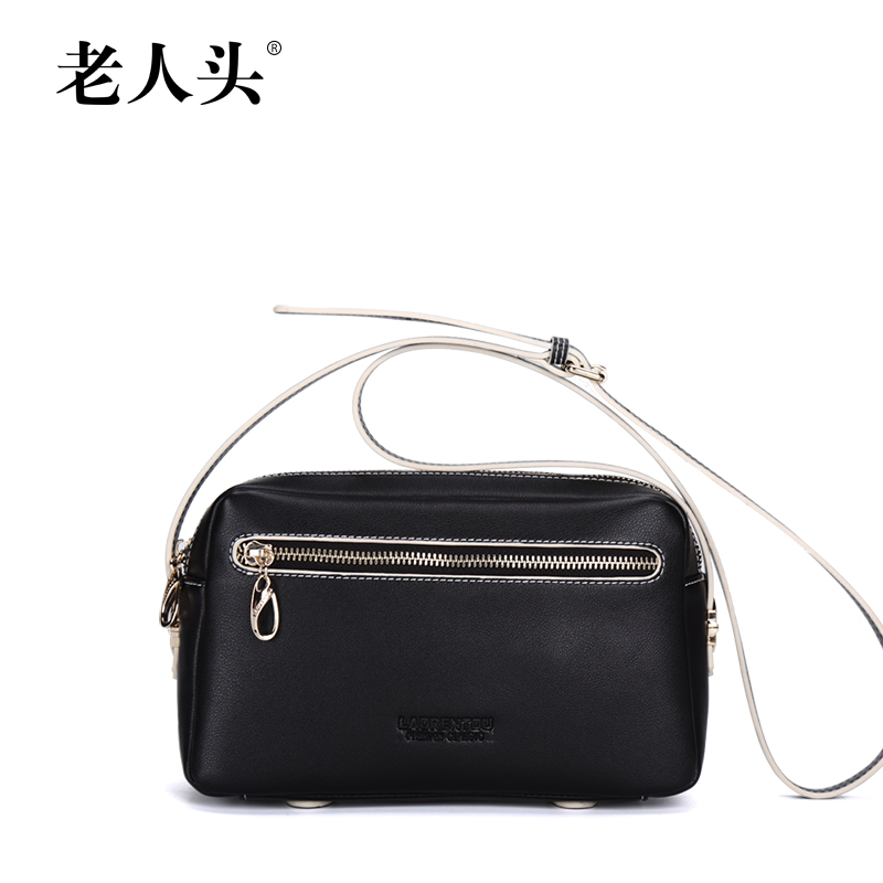 Old head 2015 new handbag korea leather bag lady shoulder bag messenger bag small square bag solid color cell phone pocket