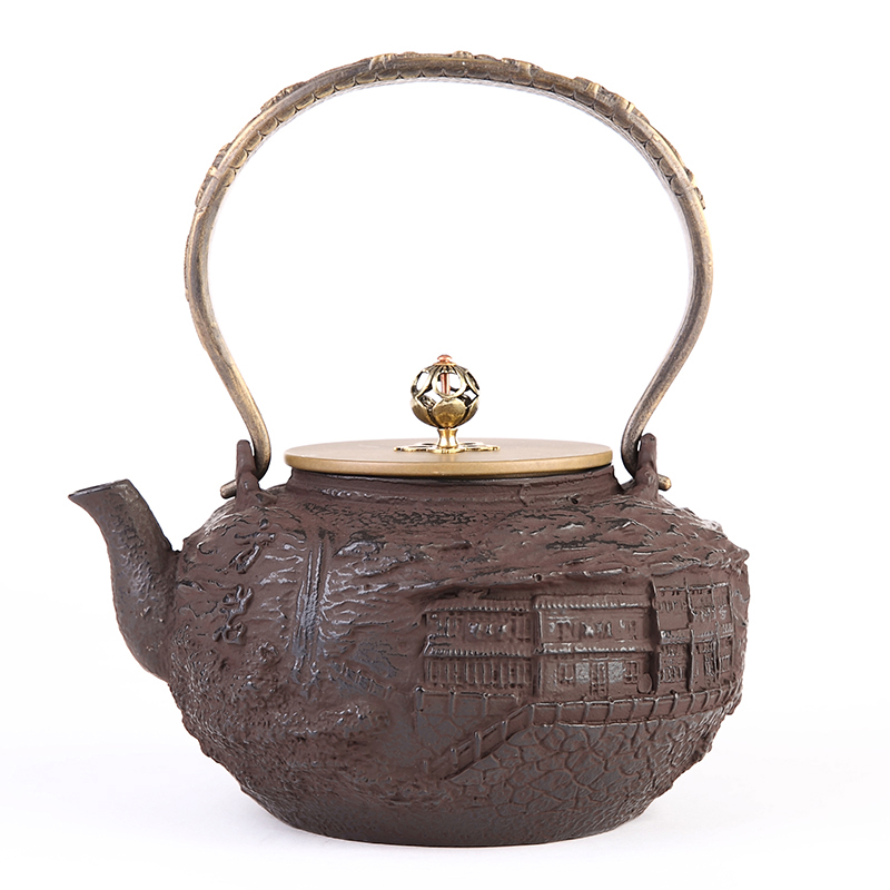 Old passenger southern pig iron pot uncoated cast iron pot old iron tea kettle to boil water heating tea 1.4l