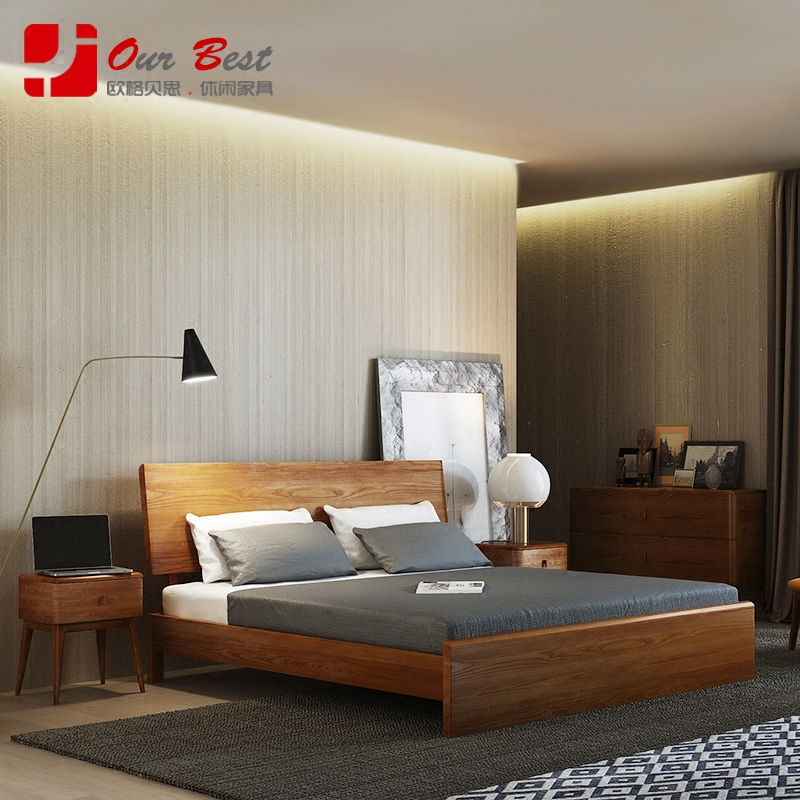 Olger beth nordic wood bedroom furniture minimalist chinese all solid wood double bed 1.5/1.8 m water willow