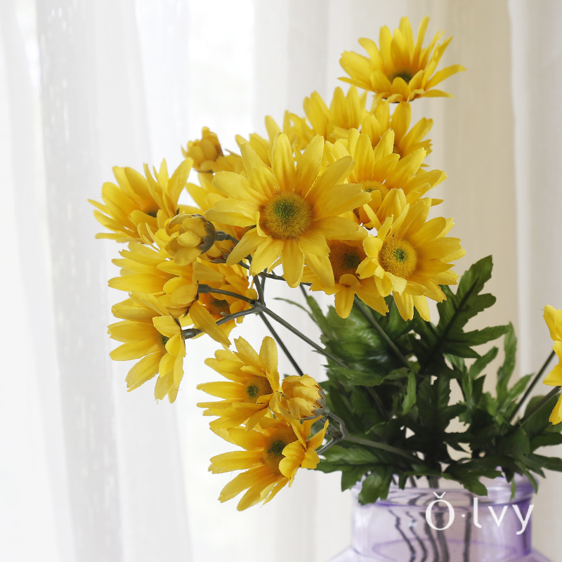 Olvy 9 head of small daisy chrysanthemum flower silk artificial flowers decorate the living room home furnishings floral simulation chrysanthemum flower artificial flowers
