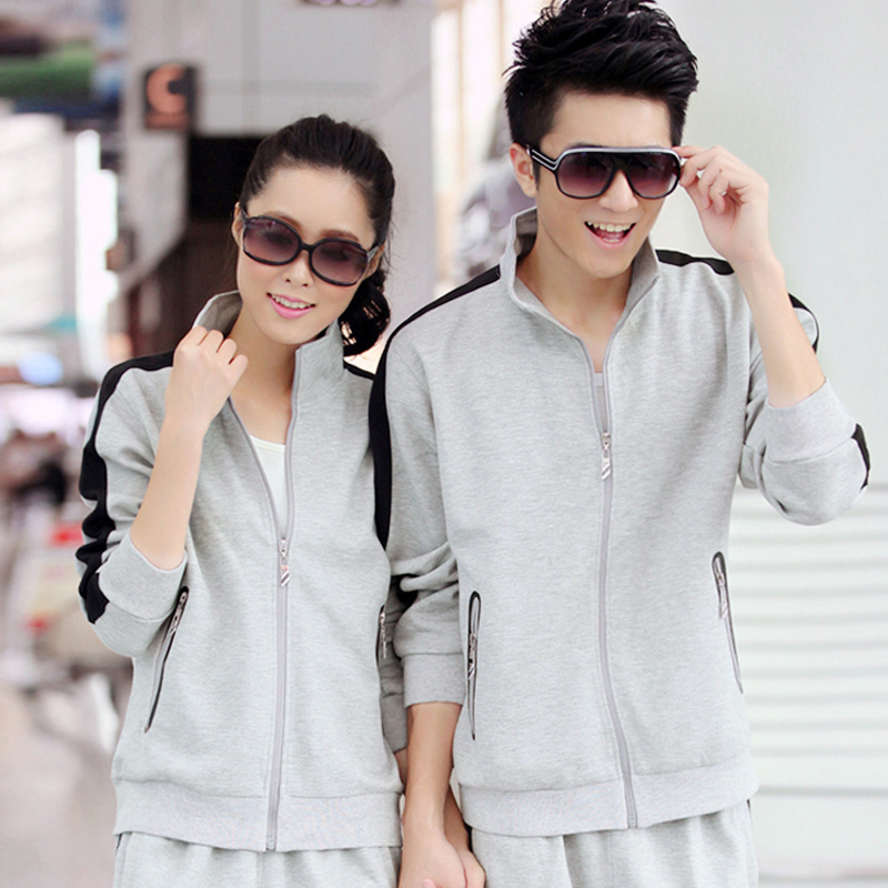 On 2015 the new spring and winter plus velvet sportswear for men and women couple models sportswear suit collar fashion