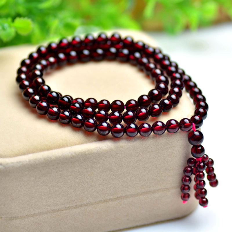 On the music club brazilian natural burgundy garnet bracelet multilayer crystal beads bracelets 108 female jewelry free shipping