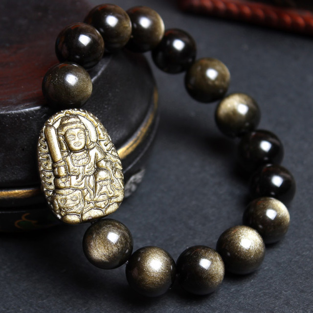 One one year of the monkey gold obsidian obsidian bracelet male and female models bracelets sa bodhisattva manjushri zodiac rabbit patron saint of lovers
