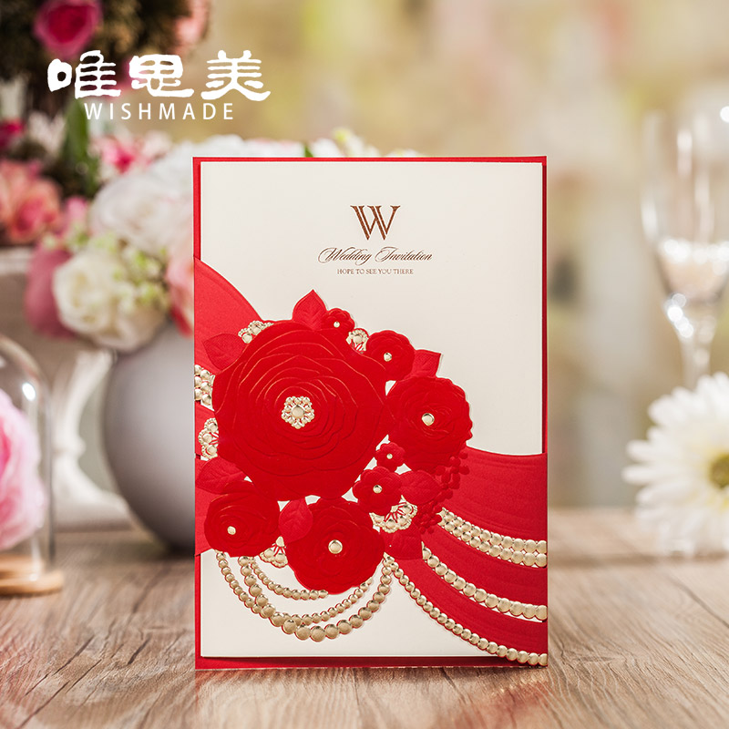 Only simei chinese red wedding invitations wedding invitations invitations creative personality 20 16 of new