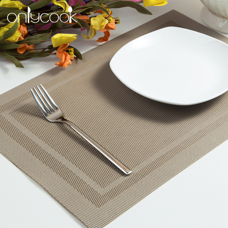 Onlycook insulation table mat placemat western european pvc slip mats can be washed green meal cloth coasters