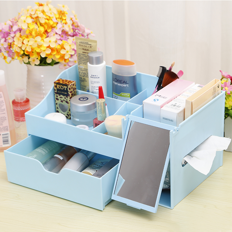Opaisj euclidian with mirror cosmetic storage box desktop storage box plastic jewelry drawer storage racks