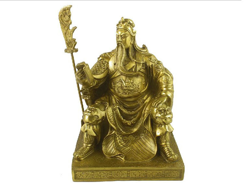 Open light copper statue of guan gong guan gong wu treasurer ornaments guan gong books large opening gifts crafts