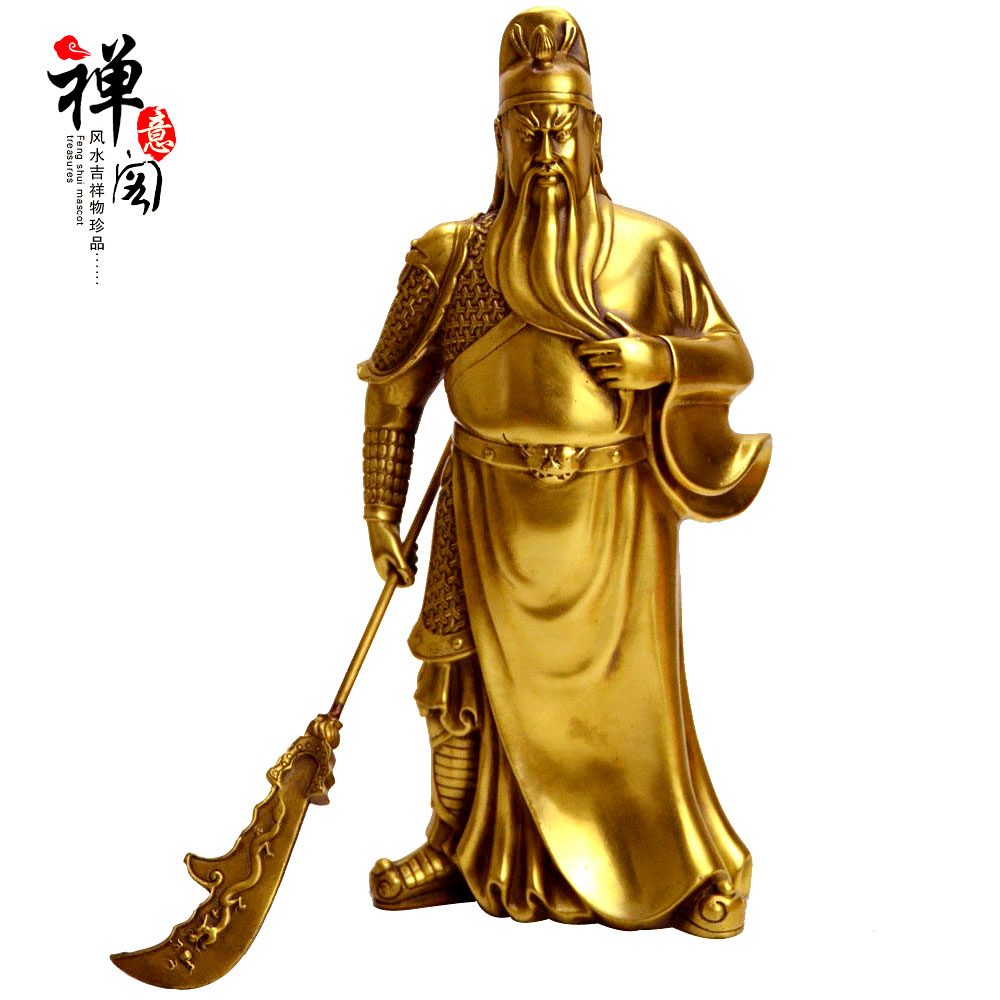 Open light copper statue of guan gong wu fortuna ornaments opening gifts lucky satisfied fiscal feng shui crafts