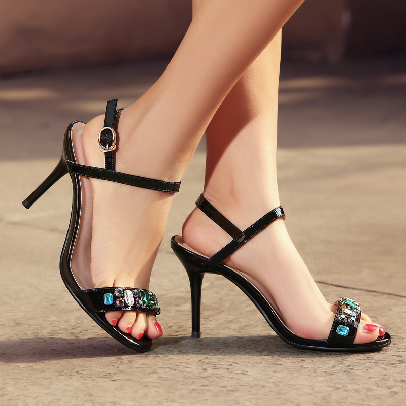 Open toe sandals 2016 summer new female roman sandals leather sandals with high heels patent leather high heels rhinestone sandals women