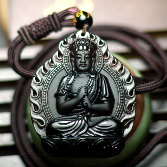 Opening natal sheep monkey buddha pendant big day tathagata mascot natural obsidian pendant male models female models patronus