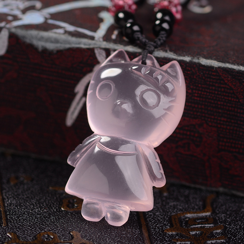 Opening of natural rose quartz pendant lucky kitty kitty cat pendant necklace pendant national wind female models pink crystal
