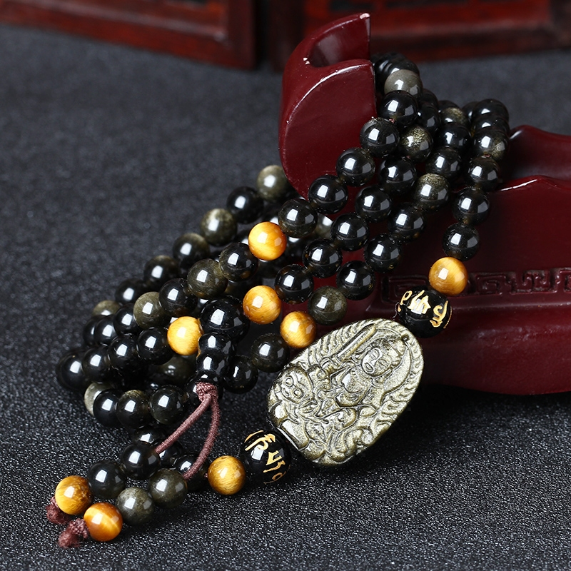 Opening of thousands of gold obsidian obsidian is a rabbit natal buddha manjushri obsidian 108 beads bracelet male and female models