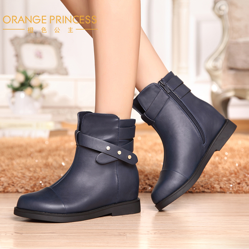 Orange princess 2015 new autumn and winter in europe and america british fashion in the thick crust slip rubber sole boots winter boots women round