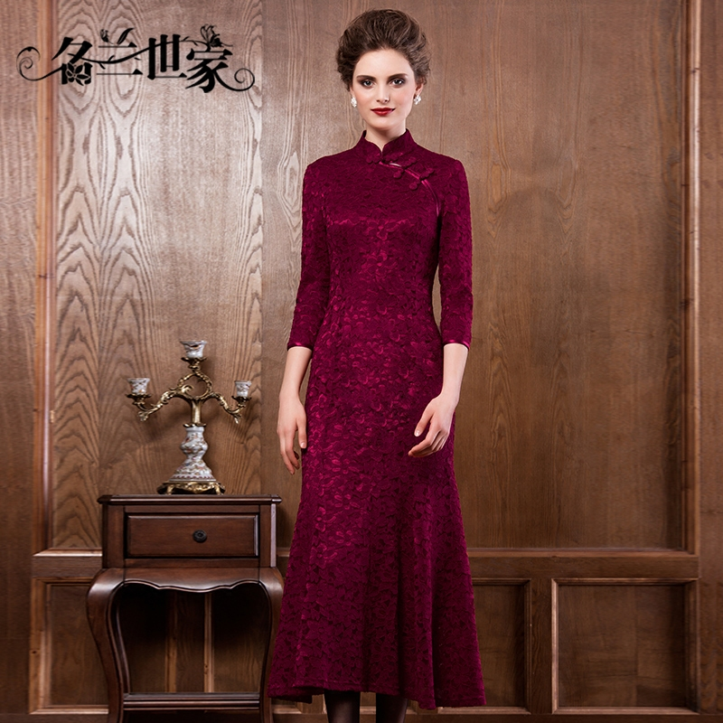 Get Quotations Orchid Family Name End Brand Knot Lace Dress Sleeve Middle Aged Mother Wedding