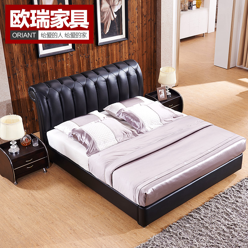 Oriflame furniture brand leather bed leather bed 1.5 marriage bed tatami bed leather bed 1.8 m double bed apartment size