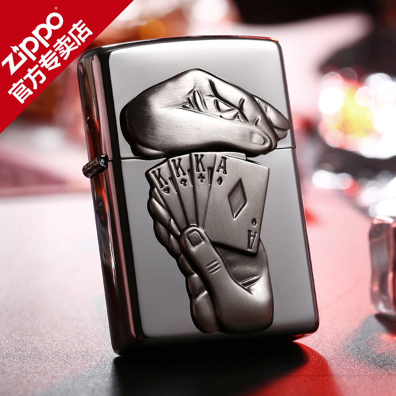 Original authentic genuine zippo lighter mirror stickers chapter surprise poker ace lucky 28837