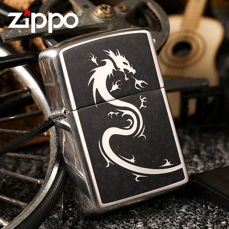 Original genuine zippo lighter japanese version of the black dragon armor shell long silver plated limited edition collection of genuine