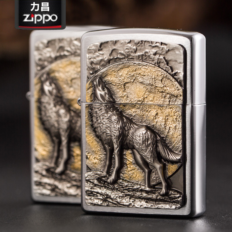 Original genuine zippo lighters zippo genuine original european version of the new drawing stick midnight wolf howl lighter limited edition