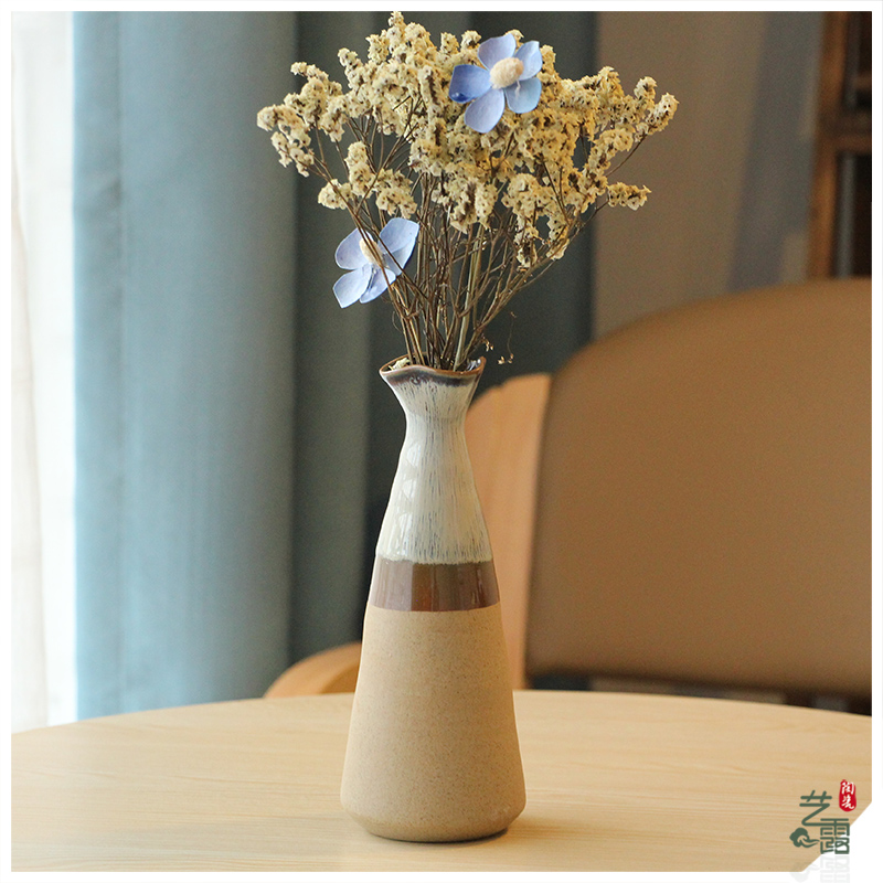 Original handmade retro jingdezhen ceramic glaze flow glaze vase table decoration flower arrangement modern countertops decoration