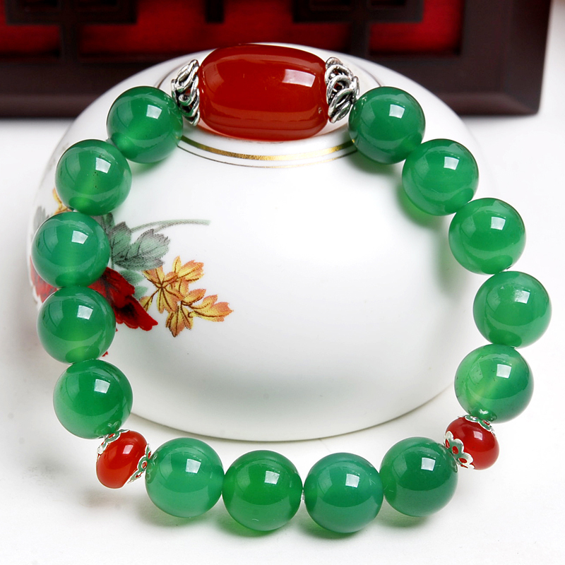 Original national wind jewelry bracelet male and female models natural red and green agate chalcedony beads string bracelet couple