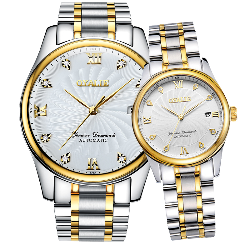 Ou yali genuine steel watch brand between gold automatic mechanical watch fashion waterproof couple of tables one pair