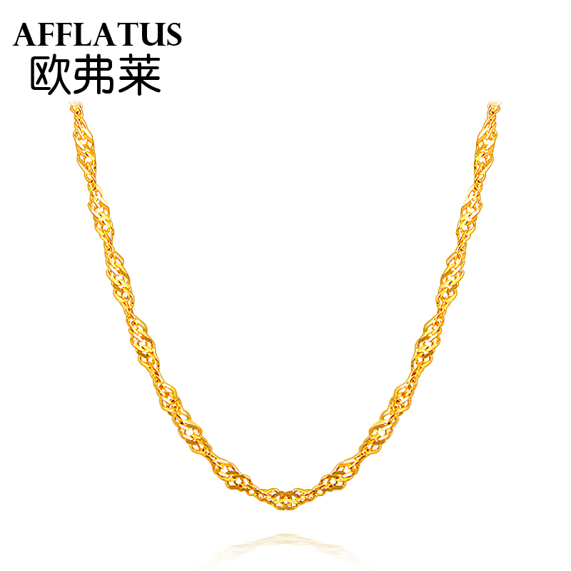 Oufu lai gold necklace ms. clavicle water ripples necklace fine fashion wedding son足énecklace female