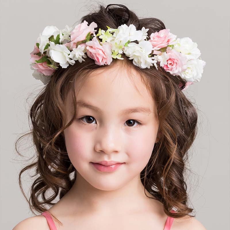 Oufu ting korean children's jewelry girls play pictures headdress wreath small wedding flower girl little girl table