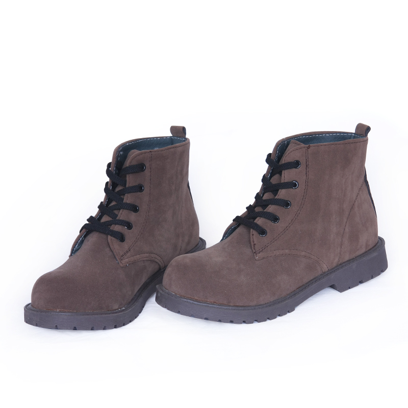 Oukai qi special promotions 5 hole martin boots matte suede round comfortable flat boots and ankle boots