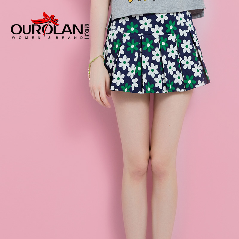 Ouluo lan 2016 new floral print skirts high waist pleated skirts wild sheds anti emptied skirt female summer